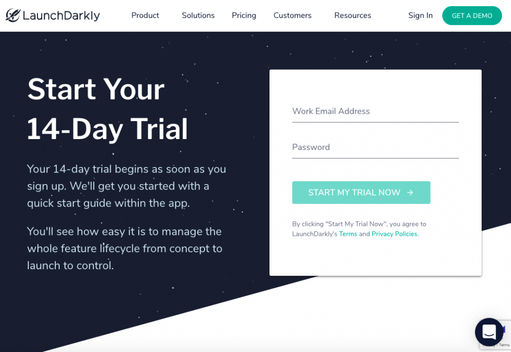 LaunchDarkly landing page call-to-action button example.